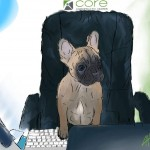 Digital painting of this French Bulldog running the office